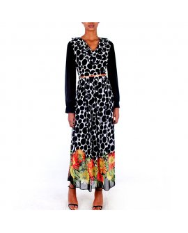 Stelina Polka Dot Long Dress with Floral Print