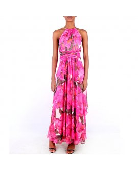 Eliza J Pink Floral Patterned Long Dress