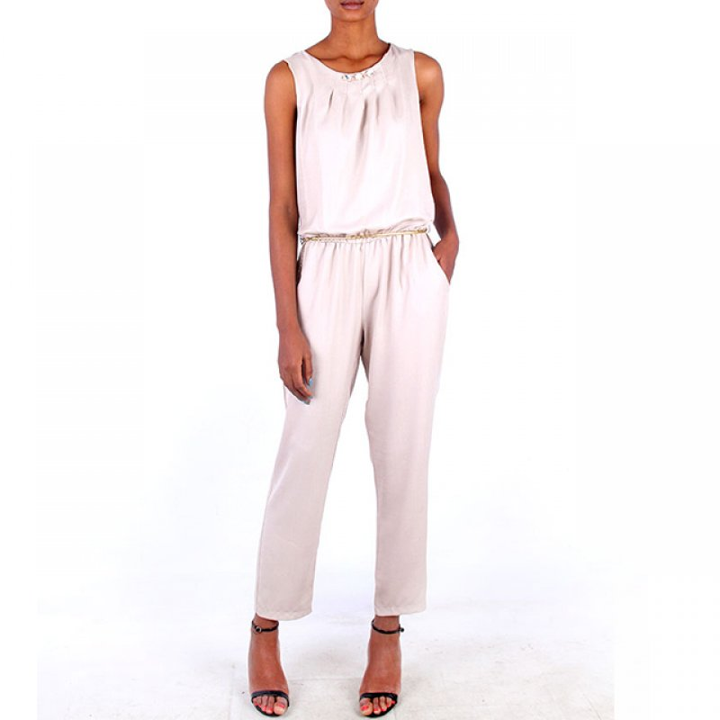 Samsara Beige Cotton Beaded Jump Suit