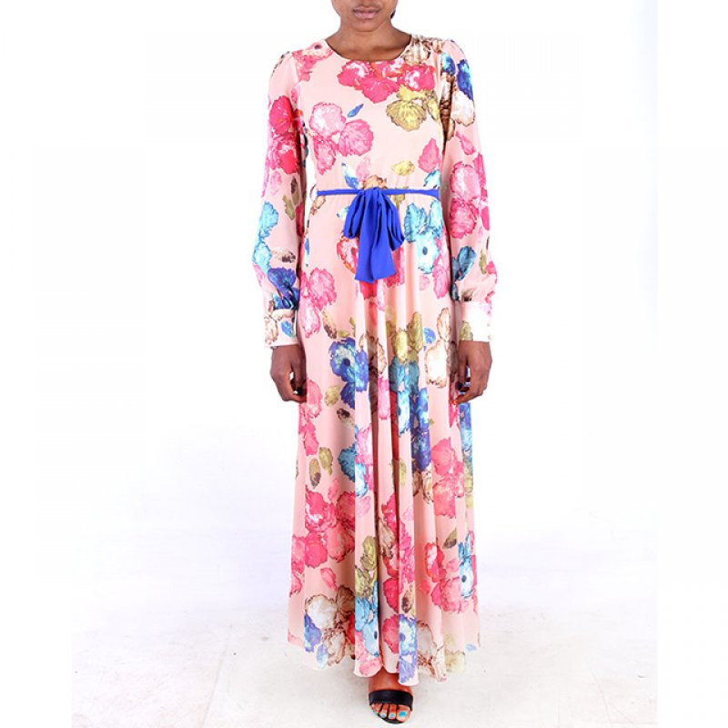 Sandrom Peach Multi Long Dress with a Blue Belt