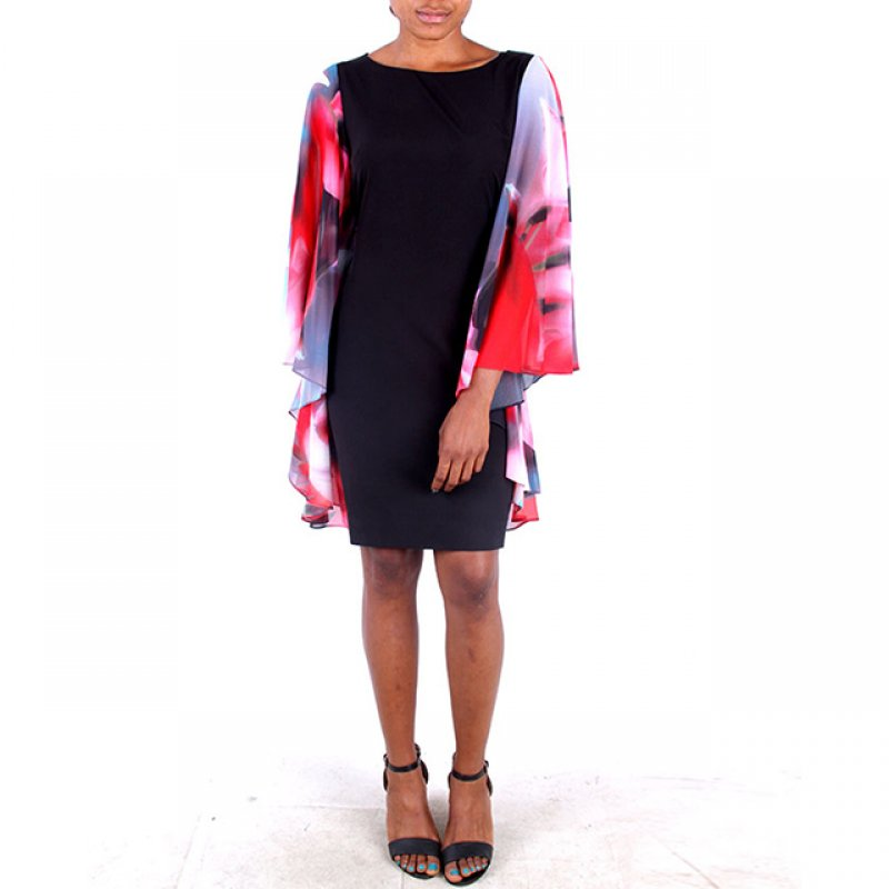 D and S Black Short Dress with Multi Color Chiffon Sleeves