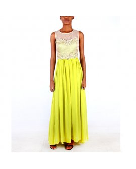 Damaceno Gold and Lemon Long Chiffon Dress
