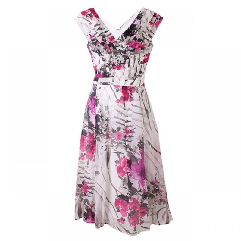 Jax Orchid Floral Chiffon Flare Short Dress