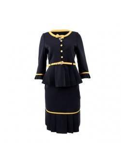 B3 Black and Yellow Skirt Suit with Yellow Bow on the Neck Line