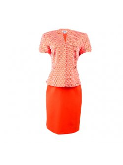 Issabella Orange Skirt Suit with White Print on the Top