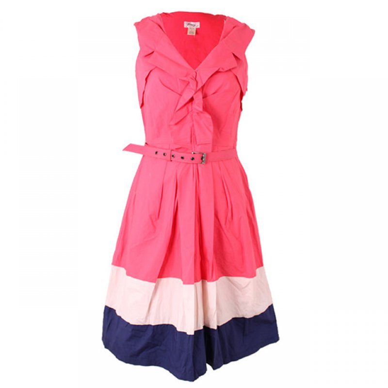 Free Way Multi Colour V-neck Short Dress with Belt