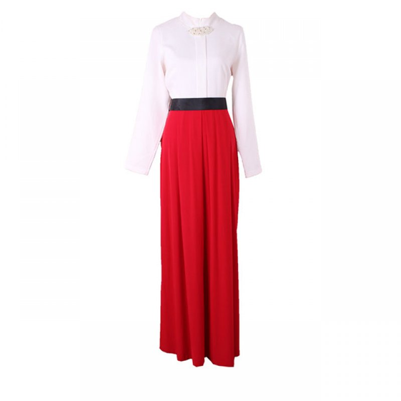 Dawn Line White and Red Long Dress