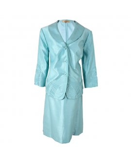 Kasper Sky Blue Three-quarter Sleeves Skirt Suit