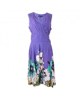 Jones New York Blue V-neck Floral Short Dress