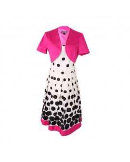 Jessicca Horward Fuschia Pink Jacket with Polka-dot Short Dress