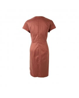 London Times Brown Short Dress with Embellished Waistline