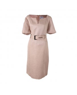 Chancelle Beige Short Sleeves Short Dress