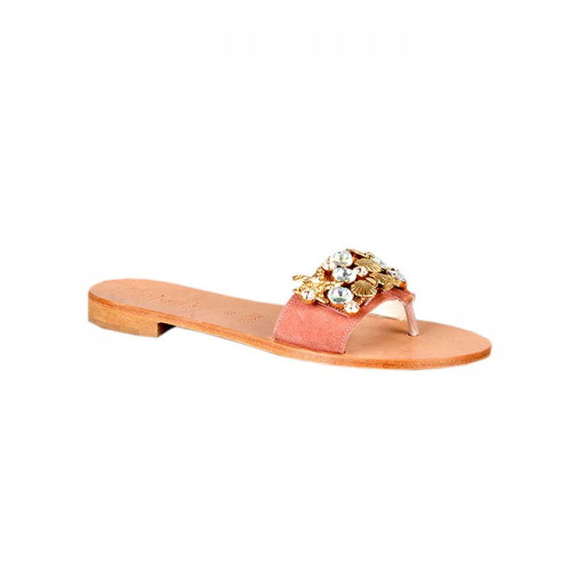 Carissa's Suede Flat Slippers with Flowered Gold Details