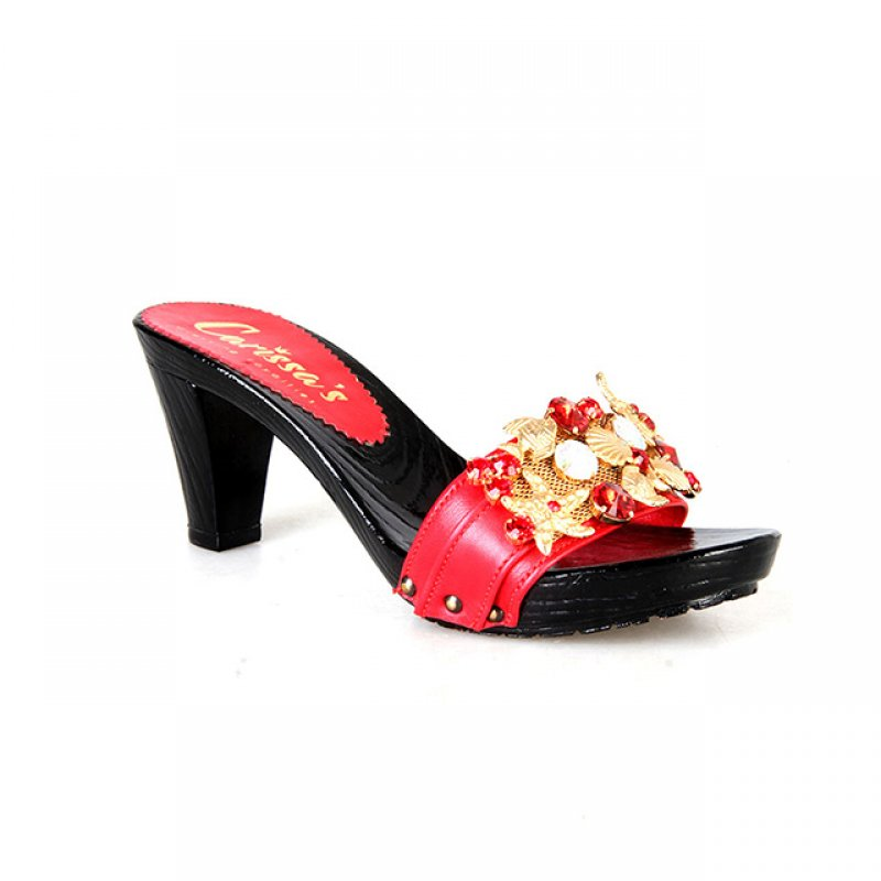Carissa's Red Slippers with Black Wooden Heels