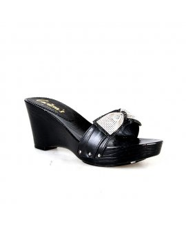 Carissa's Black Wedge with Embellished Bow