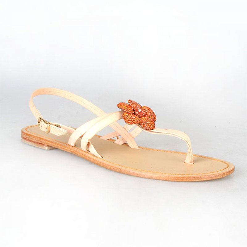 Gino Sentel Flat Cream Sandal with Orange Floral Design