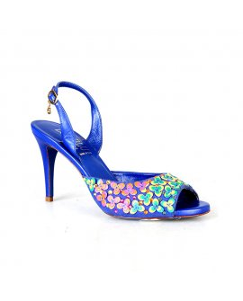 Loriblu Blue High Heels with Yellow Floral Design