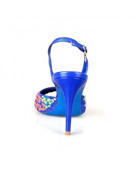 Loriblu Blue High Heels with Yellow Floral Design