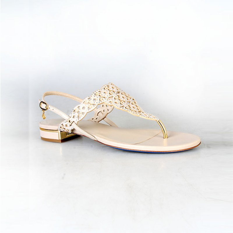 Loriblu Beige Low Heel Sandals with Swarovski Stones