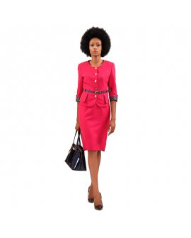 Baracci Pink Two Piece Skirt Suit