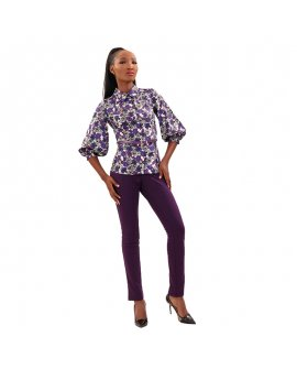 White Exclusive Purple Floral Top