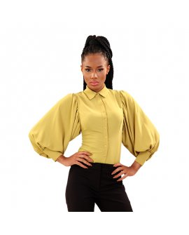 Aron Lemon Bell Sleeve Top