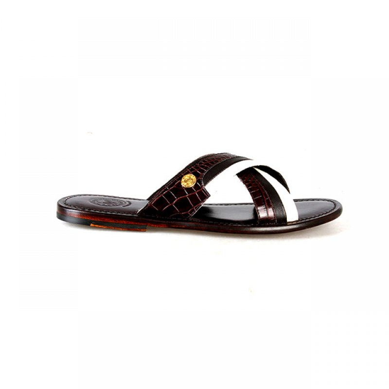 Valentino Orlandis Brown and Cream Leather Slippers