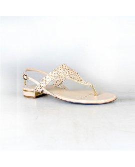 Loriblu Beige Low Heel Sandals with Swarovski Stones