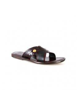 Valentino Orlandis Burgundy and Black Slippers
